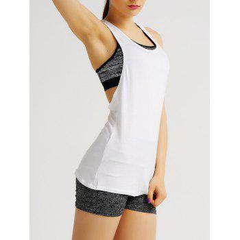 Simple Style Racerback Printed Women's Sports Tank Top - WHITE L