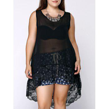 Stylish U Neck Sleeveless Asymmetrical Lace Spliced See-Through Women's Black Plus Size Tank Top
