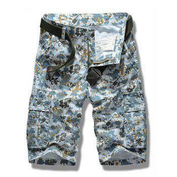 Men's Multi-pockets Camo Printing Cargo Shorts