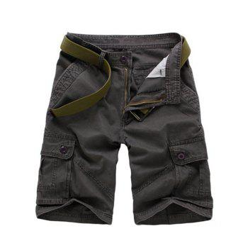 Men's Multi-pockets Solid Color Cargo Shorts