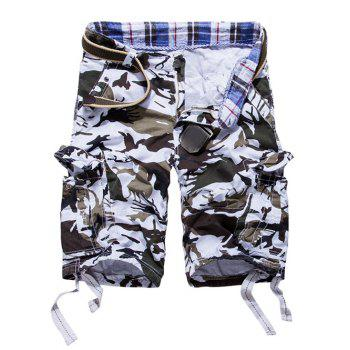 Buy Loose Fit Multi-pockets Camo Printed Men's Cargo Shorts WHITE