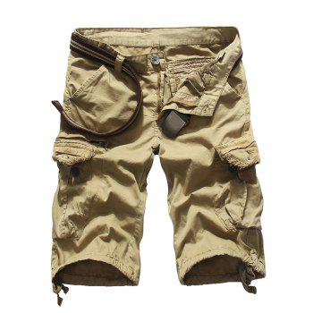 Loose Fit Multi-pockets Solid Color Men's Cargo Shorts
