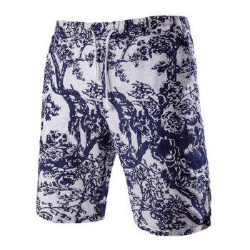 Casual Lace Up Tree Printing Men's Boardshorts