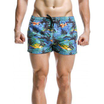 Coconut Tree Printed Boardshorts For Men