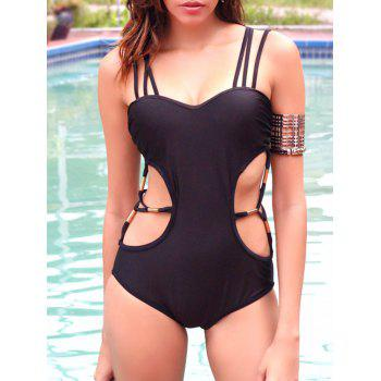 Chic Hollow Out Spaghetti Strap One Piece Black Swimwear For Women