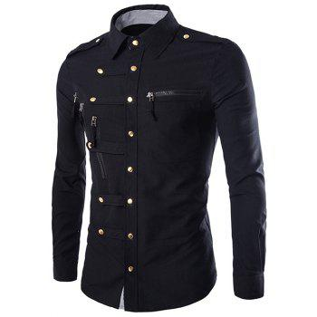 Solid Color Long Sleeves Zip Design Men's Shirts