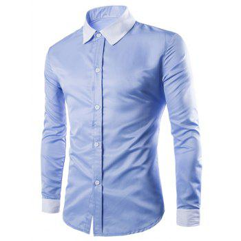Color Block Long Sleeves Single Breasted Men's Shirts