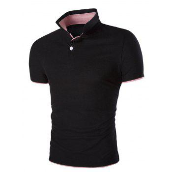 Slim Fit Short Sleeves Men's Polo Collar T-Shirt - BLACK M
