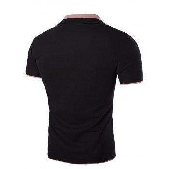 Slim Fit Short Sleeves Men's Polo Collar T-Shirt - BLACK BLACK
