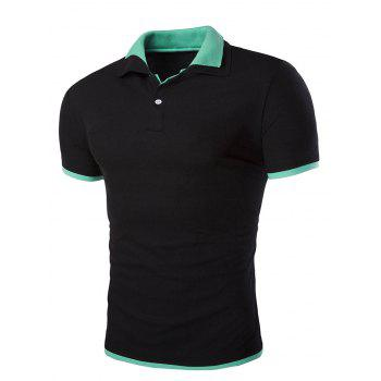 Slim Fit Short Sleeves Polo Collar Men's T-Shirt - BLACK BLACK