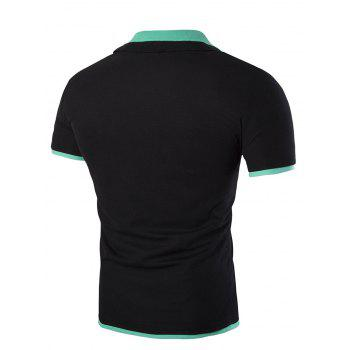 Slim Fit Short Sleeves Polo Collar Men's T-Shirt - BLACK XL