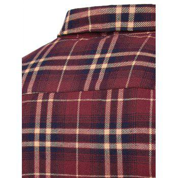 Men's Turn-Down Collar Pocket Checked Pattern Long Sleeves Shirt - ROSE M