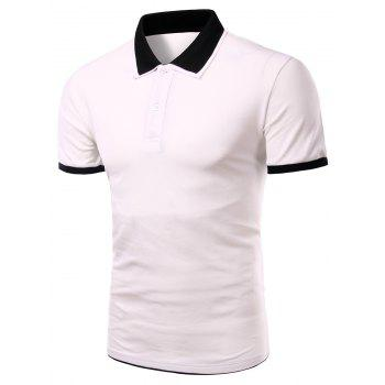 Men's Turn-down Collar Solid  Color Short Sleeves Polo T-Shirt - WHITE WHITE