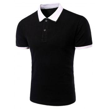 Men's Turn-down Collar Solid  Color Short Sleeves Polo T-Shirt - WHITE AND BLACK WHITE/BLACK