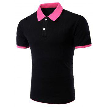 Men's Turn-down Collar Solid  Color Short Sleeves Polo T-Shirt - BLACK AND ROSE RED M
