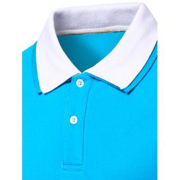 Men's Turn-down Collar Solid  Color Short Sleeves Polo T-Shirt - BLACK/ROSE RED M
