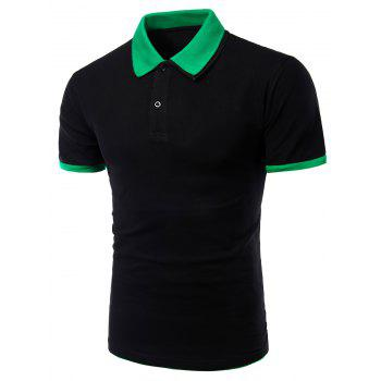 Men's Turn-down Collar Solid  Color Short Sleeves Polo T-Shirt - BLACK AND GREEN M
