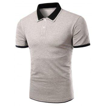 Men's Turn-down Collar Solid  Color Short Sleeves Polo T-Shirt - GRAY GRAY