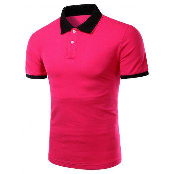 Men's Turn-down Collar Solid  Color Short Sleeves Polo T-Shirt - ROSE ROSE