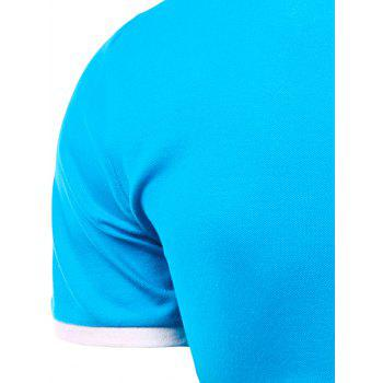 Men's Turn-down Collar Solid  Color Short Sleeves Polo T-Shirt - ROSE 3XL