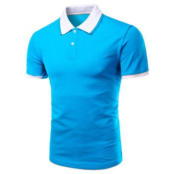 Men's Turn-down Collar Solid  Color Short Sleeves Polo T-Shirt - BLUE BLUE