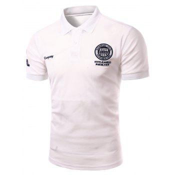 Men's Fashion Turn-down Collar Embroidery Printed Short Sleeves Polo T-Shirt