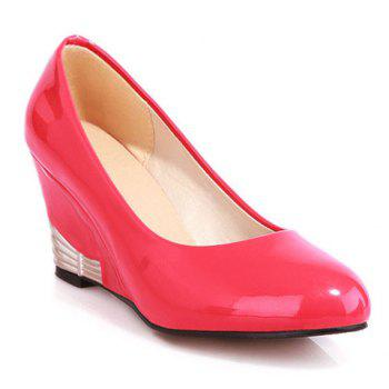 Fashionable Round Toe and Patent Leather Design Women's Wedge Shoes - RED 38