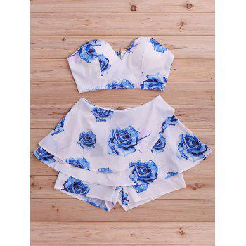 Stylish Women's Floral Print Tube Top and Skirted Shorts Set