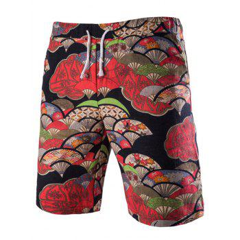 Lace Up Fan Printing Boardshorts For Men