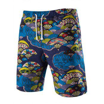 Casual Lace Up Fan Printing Men's Boardshorts