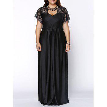 Stylish Women's Plus Size Sweetheart Neckline Lace Panelled Dress