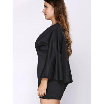 Stylish Women\'s Plus Size Plunging Neck Cape Romper - BLACK BLACK