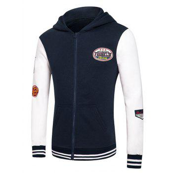 Letters Embroidered Applique Hooded Long Sleeve Zipper Hoodie - DEEP BLUE S