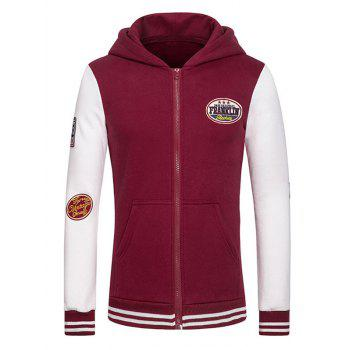 Letters Embroidered Applique Hooded Long Sleeve Zipper Hoodie
