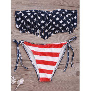 Trendy Strapless American Flag Print Fringed Women's Bikini Set