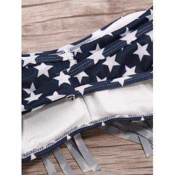 Trendy Strapless American Flag Print Fringed Women's Bikini Set - PURPLISH BLUE S
