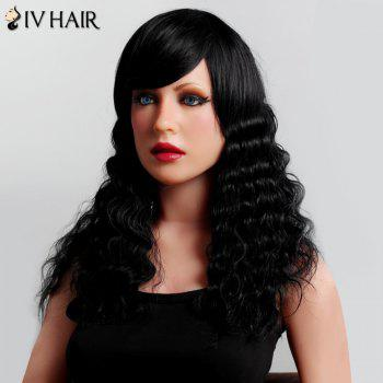 Stunning Side Bang Human Hair Shaggy Curly Long Siv Hair Capless Wig For Women