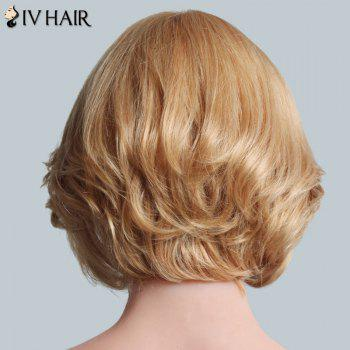 Ladylike Side Bang Human Hair Fluffy Straight Short Siv Hair Women's Capless Wig - BROWN/BLONDE