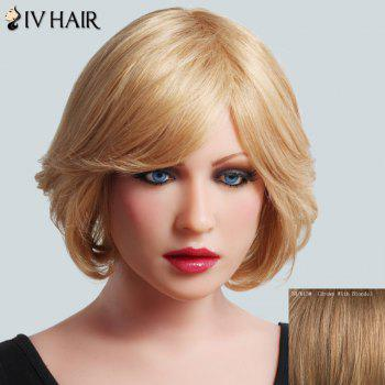 Ladylike Side Bang Human Hair Fluffy Straight Short Siv Hair Women's Capless Wig