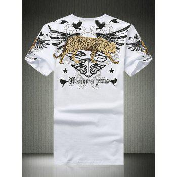 Wing Leopard Print Rhinestone Round Neck Short Sleeve Men's T-Shirt - WHITE 3XL