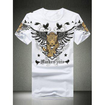 Wing Leopard Print Rhinestone Round Neck Short Sleeve Men's T-Shirt - WHITE WHITE