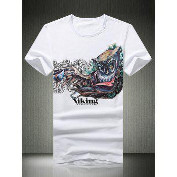 3D Abstract Print Round Neck Short Sleeve Men's T-Shirt - WHITE WHITE