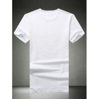 3D Abstract Print Round Neck Short Sleeve Men's T-Shirt - WHITE 3XL