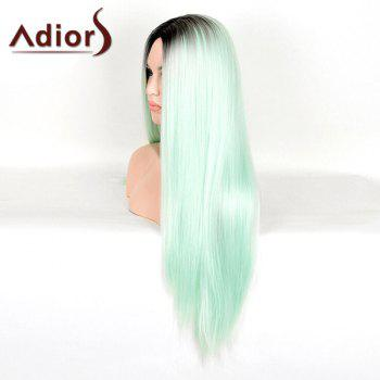 Trendy Black Ombre Green Middle Part Synthetic Silky Straight Women's Capless Adiors Wig - BLACK/GREEN