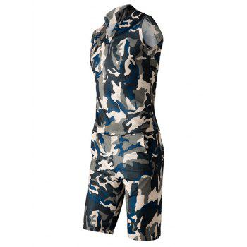 Camo Sleeveless Stand Collar Men's Suit(Tank Top + Shorts)