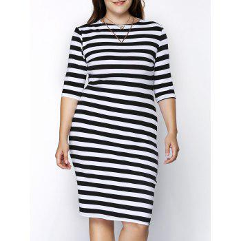 Trendy 3/4 Sleeve Round Collar Striped Skinny Plus Size Women's Dress