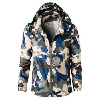 Camouflage Hooded Long Sleeve Polyester Men's Jacket