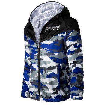 Letters Print Camouflage Splicing Hooded Long Sleeve Polyester Men's Jacket - BLUE/WHITE M