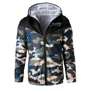 Letters Print Camouflage Splicing Hooded Long Sleeve Polyester Men's Jacket