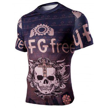 Men's Round Neck Skull Words Print Short Sleeves T-Shirt